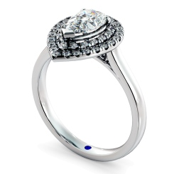 HRPESD838 Pear Halo Diamond Ring - white