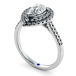 HRPESD839 Pear Halo Diamond Ring - white