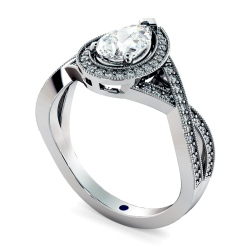 HRPESD840 Pear Halo Diamond Ring - white