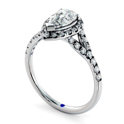 HRPESD841 Pear Halo Diamond Ring - white