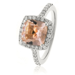 HRPGMG1141 Princess Shape Morganite & Diamond Single Halo Ring - white