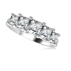 HRPSD1398 0.50CT SI1/G PRINCESS DIAMOND 5 STONE RING - white