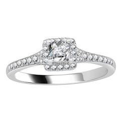 HRPSD1650 0.50CT VS/EF PETITE PRINCESS DIAMOND HALO RING - white