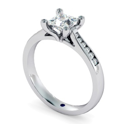 HRPSD741 Princess  Shoulder Diamond Ring - white