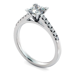 HRPSD795 V set Princess  cut U prong Shoulder Diamond Engagement Ring - white