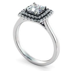 HRPSD825 Princess Halo Diamond Ring - white