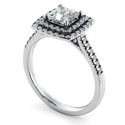 HRPSD826 Princess Halo Diamond Ring - white