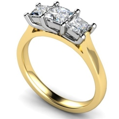 HRPTR1579 1.00CT VS2/G PRINCESS DIAMOND TRILOGY RING - yellow