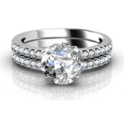 HRR1585 1.00CT SI2/F ROUND DIAMOND BRIDAL SET RING - white