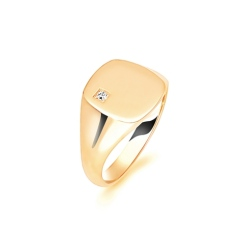 HRR1618 9CT YELLOW GOLD, GENTS SIGNET RING, SIZE U - yellow
