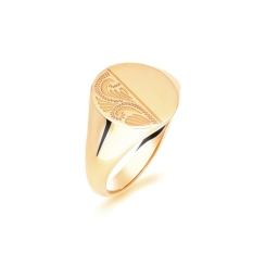 HRR1619 9CT YELLOW GOLD, GENTS SIGNET RING, SIZE T - yellow