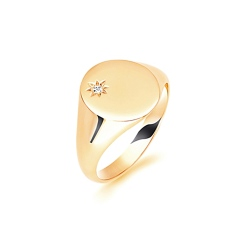 HRR1624 9CT YELLOW GOLD, GENTS SIGNET RING, SIZE W - yellow