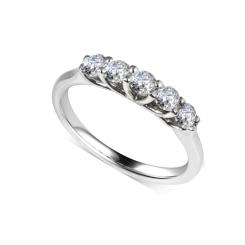 HRR1756 0.75CT VS/EF ROUND DIAMOND 5 STONE RING - white