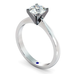 HRR479 4 Claw Round cut Solitaire Diamond Ring in Platinum - 1.00ct, SI2 clarity, G colour - white