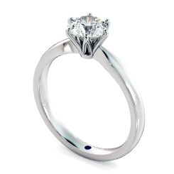 HRR791 Round cut 6 Claw Pinched Edge Diamond Engagement Ring - white