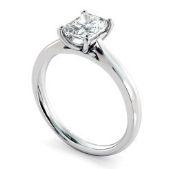 HRRA1147 Classic Four Claw Radiant Solitaire Diamond Ring - white