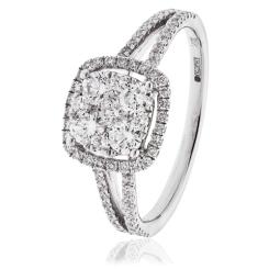 HRRCL1608 0.75CT VS/FG ROUND DIAMOND CLUSTER RING - white