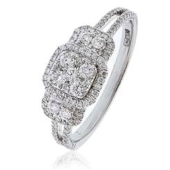 HRRCL1609 0.50CT VS/FG ROUND DIAMOND CLUSTER HALO RING - white