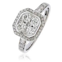 HRRCL1610 0.95CT VS/FG ROUND DIAMOND CLUSTER HALO RING - white