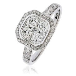 HRRCL1611 0.95CT VS/FG ROUND DIAMOND CLUSTER HALO RING - white