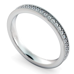 HRRFE725 PAVO TAGO Round cut Vintage Full Eternity Band - 3mm width; Shining Diamonds certificate - white