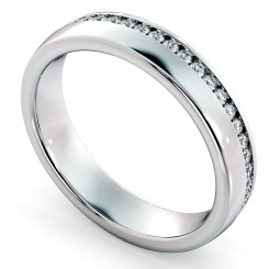 LYRA Offset Round cut Full Diamond Eternity Band - white