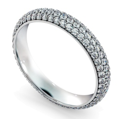 INDUS Round cut Triple Row Micro Pave Full Eternity Ring - white