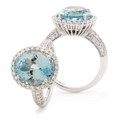 HRRGAQ1123 Pave Design Aquamarine & Diamond Single Halo Ring - white
