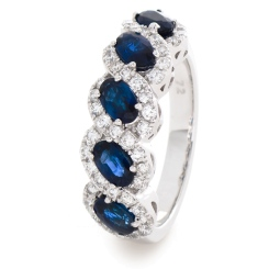 HRRGBS1001 Blue Sapphire & Diamond Infinity Swirl Eternity Ring - white