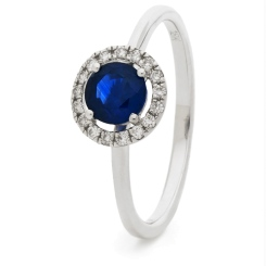 HRRGBS1043 Blue Sapphire & Diamond Single Band Halo Ring - white