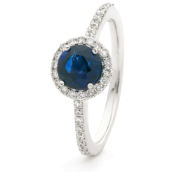 HRRGBS1047 Blue Sapphire & Diamond Shoulder Halo Ring - white