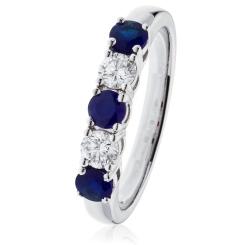 HRRGBS982 Blue Sapphire & Diamond 5 Stone Diamond Ring - white