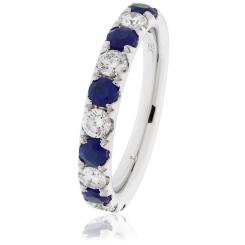 HRRGBS991 Blue Sapphire & Diamond Half Eternity Ring - white