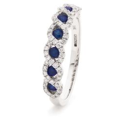 HRRGBS999 Blue Sapphire & Diamond Designer Eternity Ring - white