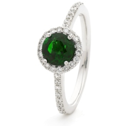 HRRGEM1048 Emerald & Diamond Single Band Halo Ring - white