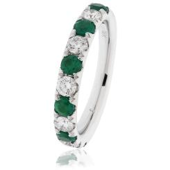 HRRGEM992 Emerald & Diamond Half Eternity Ring - white