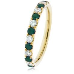 HRRGEM992 Emerald & Diamond Half Eternity Ring - yellow