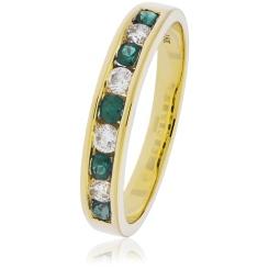 HRRGEM995 Emerald Gemstone & Diamond Eternity Ring - yellow