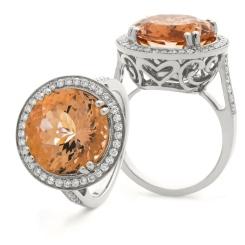 HRRGMG1135 Designer Round Shape Morganite & Diamond Single Halo Ring - white