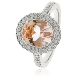 HRRGMG1139 Round Shape Morganite & Diamond Single Halo Ring - white