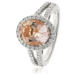 HRRGMG1140 Round Shape Split Shank Morganite & Diamond Single Halo Ring - white