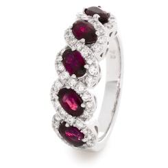 HRRGRY1002 Ruby & Diamond Designer Infinity Swirl Eternity Ring - white