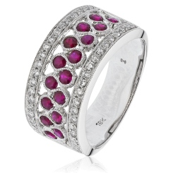 HRRGRY1004 Ruby & Diamond Designer Cocktail Swirl Eternity Ring - white