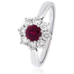 HRRGRY1028 Round cut Ruby & Diamond Halo Ring - white