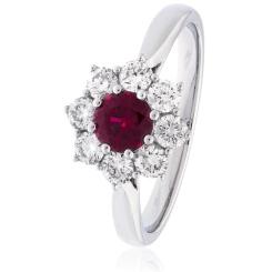 HRRGRY1028 Round cut Ruby & Diamond Halo Ring - white