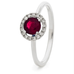 HRRGRY1044 Ruby & Diamond Single Band Halo Ring - white