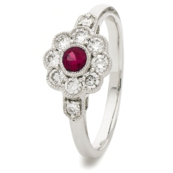 HRRGRY1066 Deco Round Ruby & Diamond Cluster Ring - white