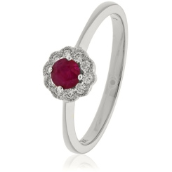 HRRGRY1075 Deco Round cut Ruby & Diamond Cluster Ring - white