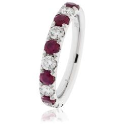 HRRGRY993 Ruby & Diamond Half Eternity Ring - white