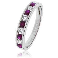 HRRGRY996 Ruby Gemstone & Diamond Eternity Ring - white